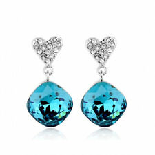 18K WHITE GOLD PLATED TURQUOISE AUSTRIAN CRYSTAL  & CZ DANGLE HEART EARRINGS
