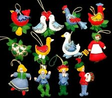 Completed Set of 12 Vintage Bucilla Jeweled Felt 12 Days of Christmas Ornaments