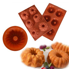 6-Cavity Mini Bundt Cake Silicone Mold Baking Pan Chocolate Candy Muffin Ice Pan