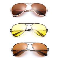 Polarized Aviator Sunglasses Spring Hinge New Classic Metal Frame Driving Lens