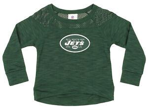 NFL Girls Youth New York Jets Streaky Performance Sweatshirt Top, Green