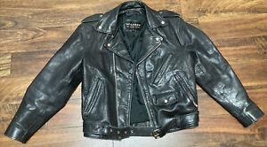 Vintage wilson full zip motorcycle jacket coat heavy rugged leather Small Black
