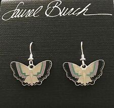 NWT Retired Laurel Burch PAPILLON Butterfly Silver Matte Cloisonne Earrings