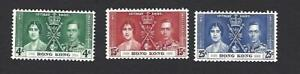 HONG KONG 1937 GEORGE VI CORONATION SET OF 3 STAMPS, SG. 137-139, CAT £22+, MH
