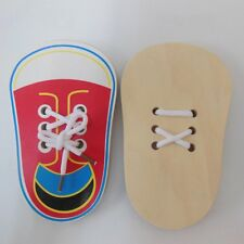 Kids Wooden Toys Learn To Tie Learning Props Lacing Shoe Practice Lace Tie Toy