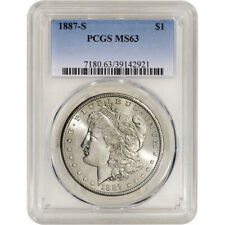 1887-S US Morgan Silver Dollar $1 - PCGS MS63