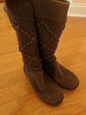 UGG Boots Brown Sweater Cable Knit Roll Down Boots Size 8M