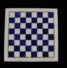 "18"" Marble Chess Table Top Lapis Inlay Pietra dura​ Home Decor Handmade Work"