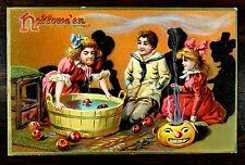 SMOKIN JACK O'LANTERN CHILDREN BOB APPLES Tuck 150 HALLOWEEN Fantasy Postcard
