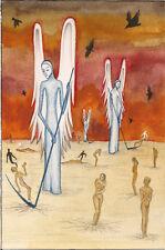 ACEO PRINT OF PAINTING RAVEN CROW RYTA GOTHIC ART ANGELS WEIRD MORBID DARK DEATH