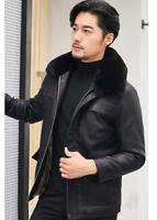 Mens Winter Warm Fur Collar Fleece Lined Leather Jacket Thick Coat Outwear M-5XL