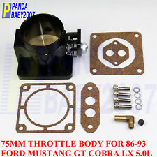 "BILLET 75MM 2.95"" THROTTLE BODY FOR 1986-1993 FORD MUSTANG GT COBRA LX 5.0L BK"