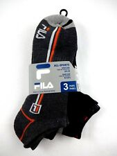 Fila Men's Ankle Socks 3 Pairs Black Gray Orange Size 10-13 Sports Running D
