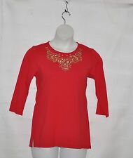 Quacker Factory Embroidered With Rhinestones Details Knit Top Size S Red