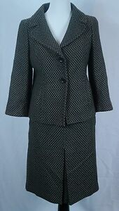 Women's Ann Taylor 2-PC Gray/Black Wool Blend Lined Blazer Skirt Suit Set - Sz 4