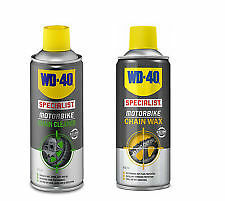 WD40 MOTORCYCLE CHAIN WAX 400ML and CHAIN CLEANER 400ML
