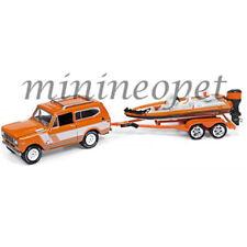 1979 International Scout orange Boat Trailer *RR* Johnny Lightning Fishing 1:64