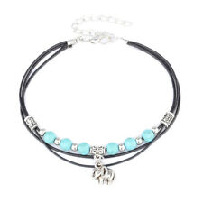 Beads Woven Turquoise Anklet L Women Boho Multi-Layer Elephant String