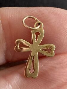 9 Ct Yellow Gold Cross, Charm Or Pendant, Solid, 0.6 g, Not Scrap, G Con