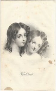 """1842 Lithograph of """"Childhood"""", Two Girls with Long Curls"""