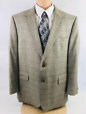 Jos. A. Bank Men's 2 Button Taupe Windowpane 46R Silk Blend Jacket Blazer Vented