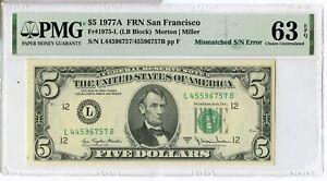 1977-A $5 Five Dollar Federal Reserve Note Mismatched S/N Error PMG 63 EPQ JL501
