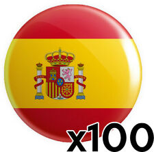 More details for 100 x spain spanish flag button pin badges 25mm 1 inch