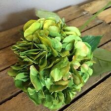Large Green Faux Silk Hydrangea, Individual Realistic Artificial Flower