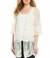 Alchemy Thread Women's Sweater White Ivory Size Large L Cardigan Lace $42- #735