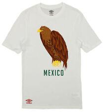 Umbro Mens Mexico Geometric Eagle Graphic Short Sleeve Tee, White