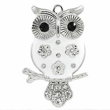 White enamelled alloy owl pendant  with rhinestones 51mm x 32mm