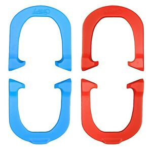 Lasso XL Lightweight Pro Pitching Horseshoes- 2 Pair, Red/Blue, Made in USA