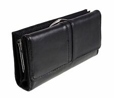 New Quality Womens Soft Sheep Nappa Leather Purse (Black 1230)
