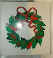 Holly Bow Wreath Metal Vintage Christmas Department 56 Original Box