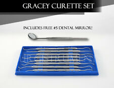 Prophy Kit of 8 Periodontal Scalers Dental Veterinary Instruments - FREE MIRROR!