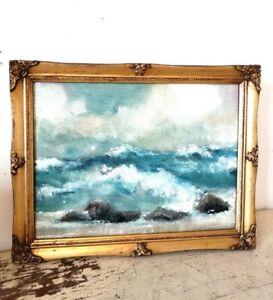 Original Oil On Board In Swept Gilded Frame Of Seascape
