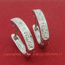 Genuine Natural Diamond Fine Silver Hoop Drop Huggies Earrings White Gold Finish