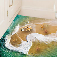 3D Beach Floor Wall Sticker Removable Mural Decals Vinyl Art Living Room Decor