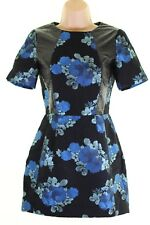 TOPSHOP black & blue floral textured dress patent faux leather trim size 4 Petit