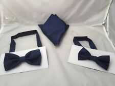 <GG> Midnight Blue MENS or BOYS Polyester Bow ties Only-Also Sets or Only Hankie