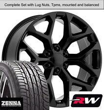 "22 x9"" inch Wheels and Tires for GMC Sierra 1500 Replica CK156 Gloss Black Rims"