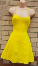 ZARA TRAFALUC SEXY STRAPPY FIT FITTED SKATER MINI LIME YELLOW NEON DRESS S 8