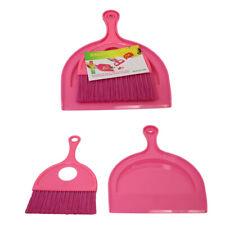 Dustpan and Brush Set Pink Durable Plastic Dust Pan Easy Clean 18cm x 23cm