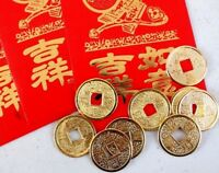 2 CHINESE GOLD LUCKY COIN 2 RED MONEY ENVELOPE NEW YEAR WEDDING BIRTHDAY PARTY