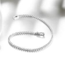 CZ Tennis Bracelet 2mm AAA Round Cut Brilliant Cubic Zirconia - Rhodium Plated