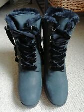 LADIES WINTER BOOTS BY GEOX BLACK GENUINE LEATHER COMFORT GORGEOUSE BOOTS SZ 7.5