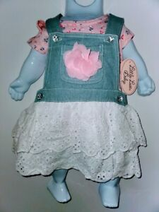 LITTLE LASS GIRLS 2PC COVERALL JEAN DRESS WITH LACE 3/6 MONTHS MSRP $40