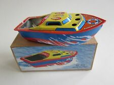 COLORFUL PONYO SHIP Pop-Pop Boat Putt Vtg style Tin Litho Candle Power RUDDER