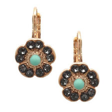 Turquoise & Silvernite Flower 1081 Mariana Zanzibar Swarovski Rose Gold Earrings