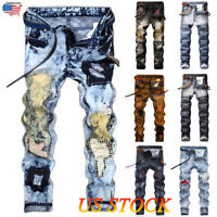 Men Ripped Biker Skinny Jeans Frayed Destroyed Fashion Trousers Pants Size 32-42